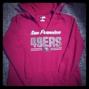 49er hoodie with ripped slit in front